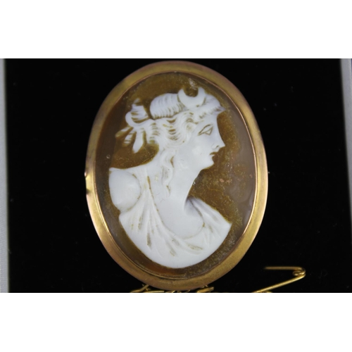 50 - A 9ct Gold mounted Cameo depicting a Mother-in-Law along with a Chain in Box....