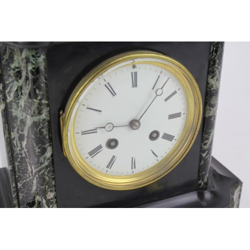121 - A Late 19th Century Black Slate and Green Marble Drawing Room Clock, in a Shaped Case Movement by