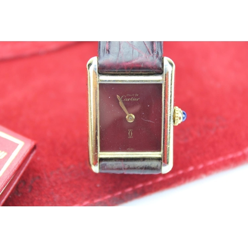108 - A Cartier of Paris (925) Regent Wristwatch Model 20129 with Sapphire Cabochon in Original Red Suede ...