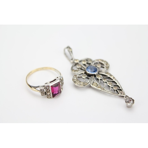 49 - A Ladies Silver Set Blue Stone Necklace and a Red Art Deco Design Dress Ring....