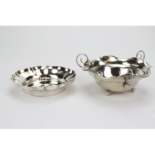 10 - A Silver Three Handle Bon Bon Dish and a Fluted Pin Tray. Weighing 154 Grams....