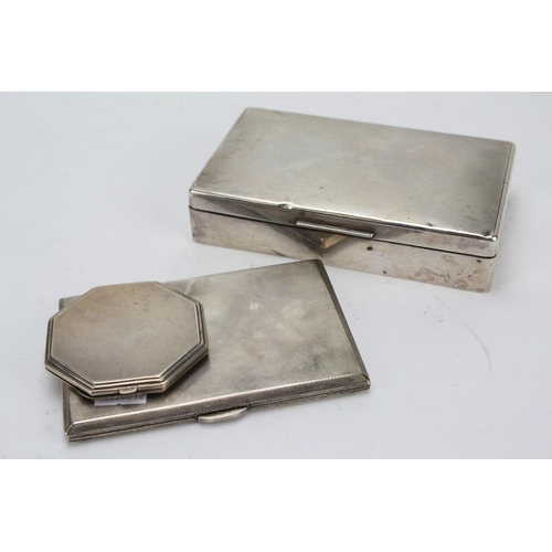 1 - A Silver Mounted Cigarette Box with Engine Turned Decoration, a Silver Cigarette Case and a Powder C...