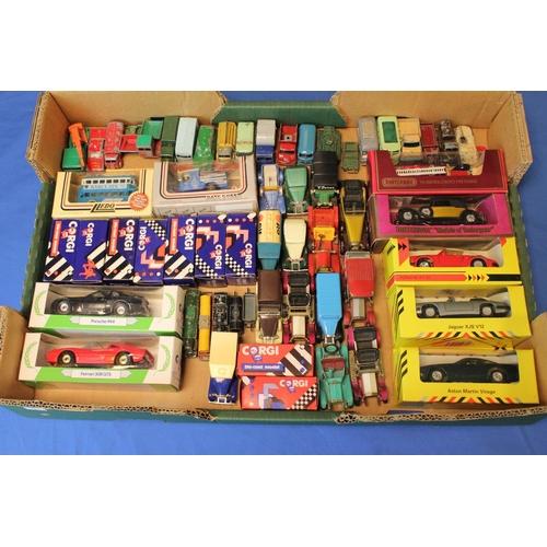 317 - A Tray of models to include Corgi, Lledo, Matchbox, etc, around 50+ models.