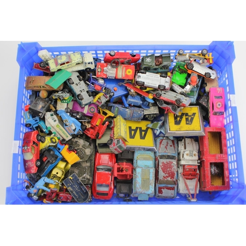 318 - A Plastic Tray of played with models to include Corgi, Matchbox, etc. 50+ Models plus 2