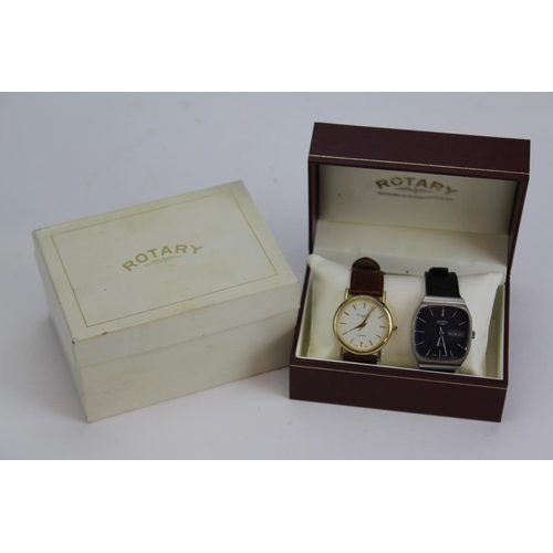 107 - A Gentleman's Rotary Wristwatch (Swiss made), blue face and Black Leather strap, in Original Box, al...
