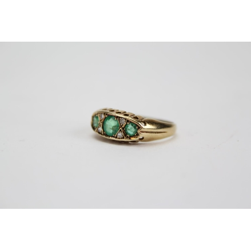 92 - A Beautiful Late 20th Century Ladies 9ct Gold Diamond and Emerald half hoop Ring, Marked London 1990...