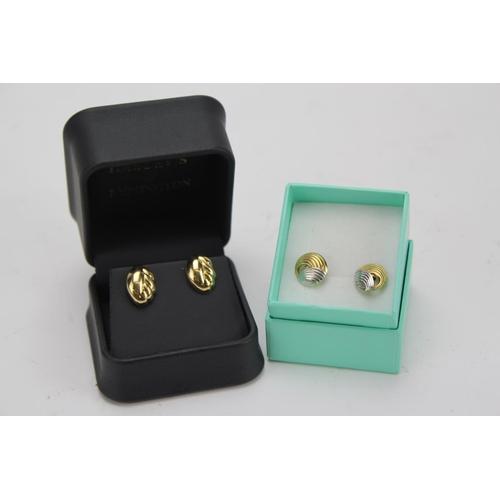 96 - Two Pairs swirl pattern earrings in Original Boxes....