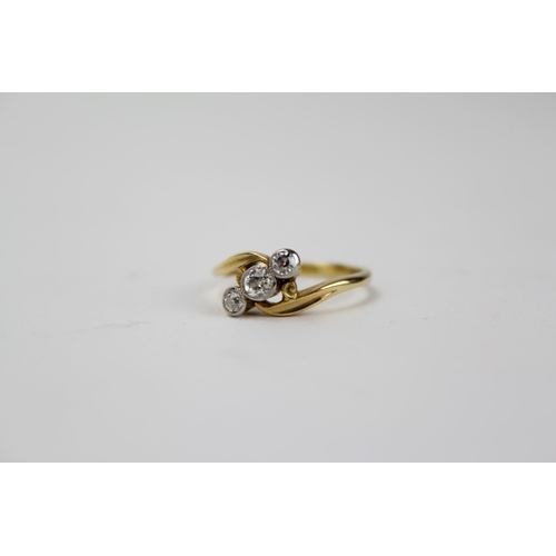 101 - A Ladies 18ct Gold Three Stone Diamond Dress Ring in Original Box. Ring Size I....