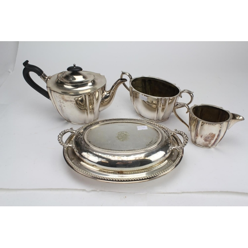 23 - A Collection of Silver Plate to include a Tea Pot, Tureen with Top, a Jug & one other....