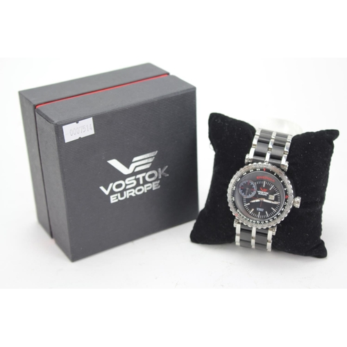 104 - A Vostok Europe ENERGIA Men's Wristwatch appears Unused in an Original Box with Booklet, Tags, etc....