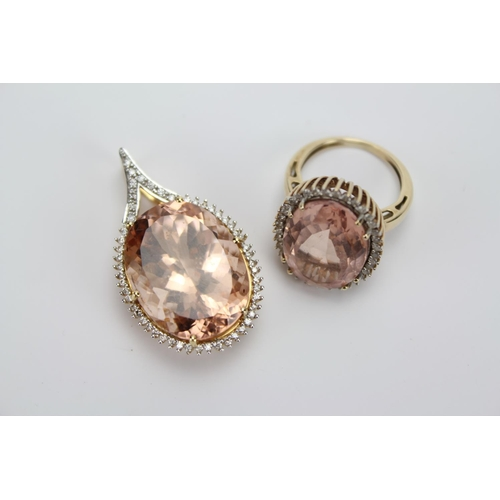57 - A Large 18ct Gold Oval Shaped Morganite & Diamond Pendant along with a matching Ring, 9 carat ring. ...