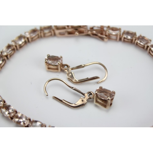 59 - A Silver (925) Rose Gold Coloured Morganite Stone Bracelet, along with a matching pair of Earrings. ...