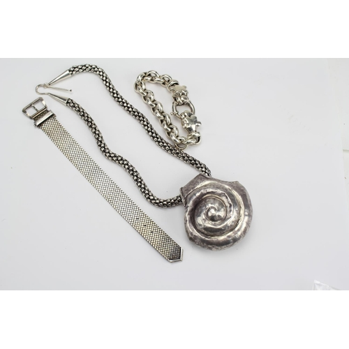60 - A collection of Silver to include a Necklace with a Large