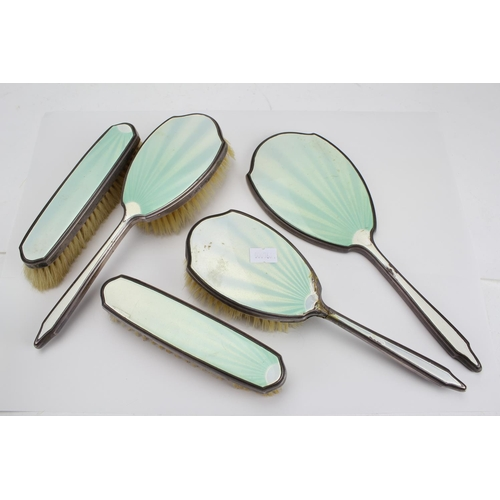 20 - A 5 Piece Silver & Enamelled 1930's Dressing Table Set....