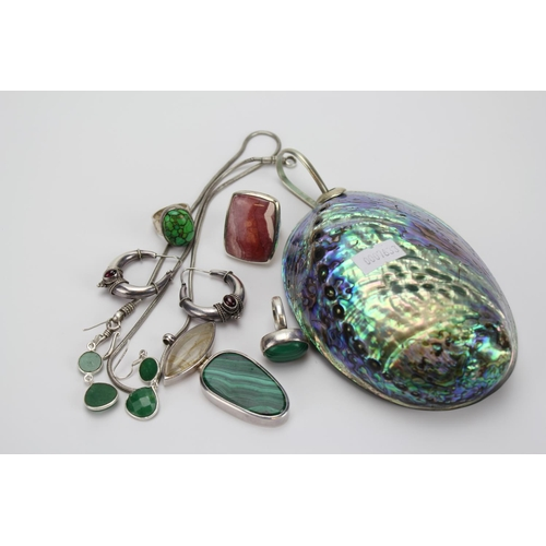 75 - An English Silver hallmarked Ring set, Malachite earrings, a large Abalone shell, etc....