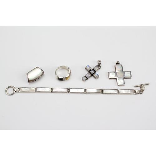 80 - 2 x (925) Silver crosses, a Bracelet, Mop, Silver Ring, etc....
