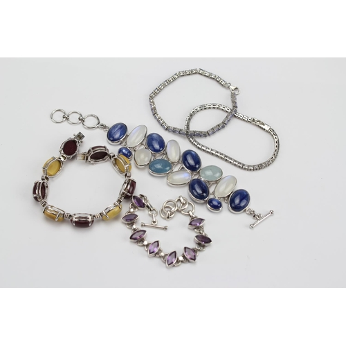 82 - An Amethyst Bracelet, two line Bracelets, a Multi stone and others, etc....