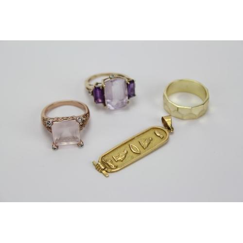 83 - Two Dress Rings, one 9k Gold set coloured stones, a Nefertiti Pendant Dress Ring, etc....