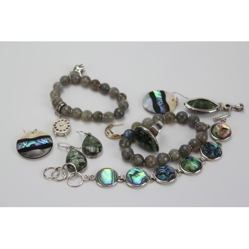 84 - A Collection of Silver to include Earrings, Faceted, Gem Stones, Abalone Ring, etc....