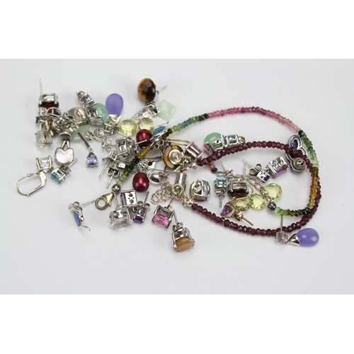 87 - A Collection of Jewellery to include various Silver earrings, Gem Stone Bracelets in various colours...