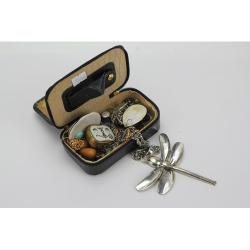 90 - A Box containing a Dragon Fly Necklace, 1960's Pendant, Osprey of London Necklace, etc...