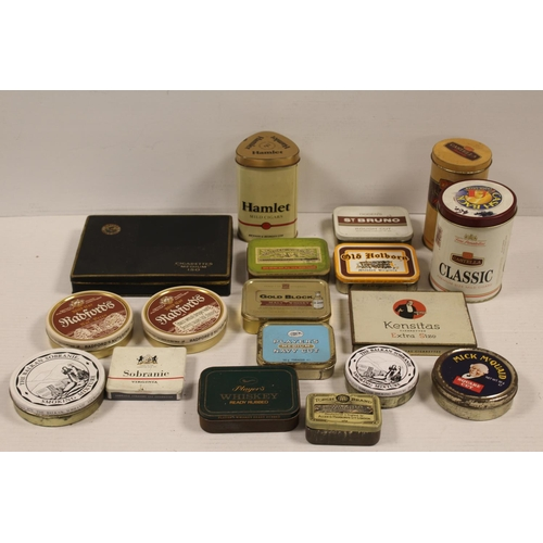 256 - A Collection of 18 Original Smoking advertising Tins to include: Hamlet, Player's, St. Bruno, Golden...