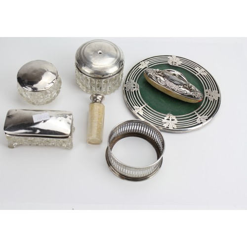 15 - 4 x Silver Topped Dressing Table items, a Liner, a Salt along with a Silver Tea Pot Stand, etc. Silv...