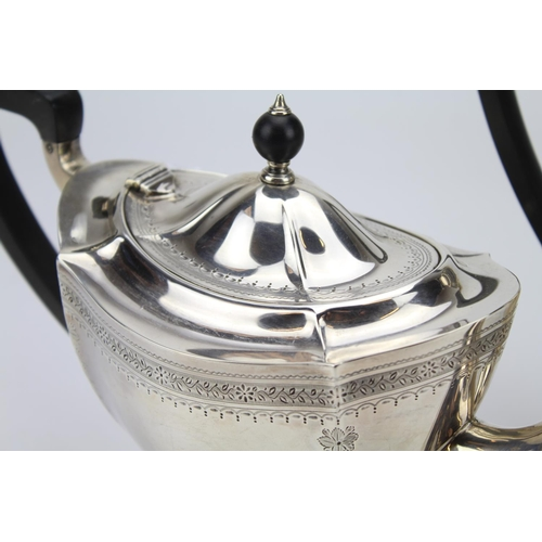 48 - A Silver and Engraved Edwardian Bats Wing Fluted Tea Pot & Coffee Pot. Birmingham f/g. Maker: Blakes...