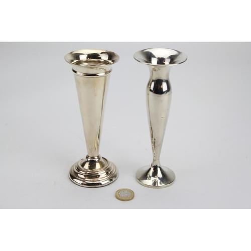 12 - 2 x Silver Pedestal Flower Vases....