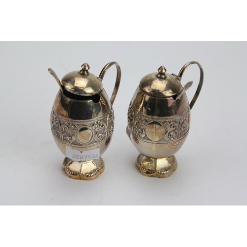 9 - 2 x Indian Silver Spice Pots with Spoons. Weighing: 84g....