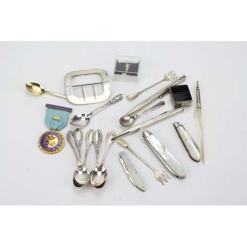 26 - A Large ladies Silver buckle, pickle forks, dip pen, mop fruit knife, Silver Pen Knives, etc. Nice L...