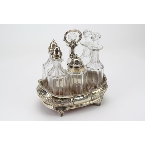 42 - A Scarce George 111 Silver Cruet Set with 7 Matching Bottles....