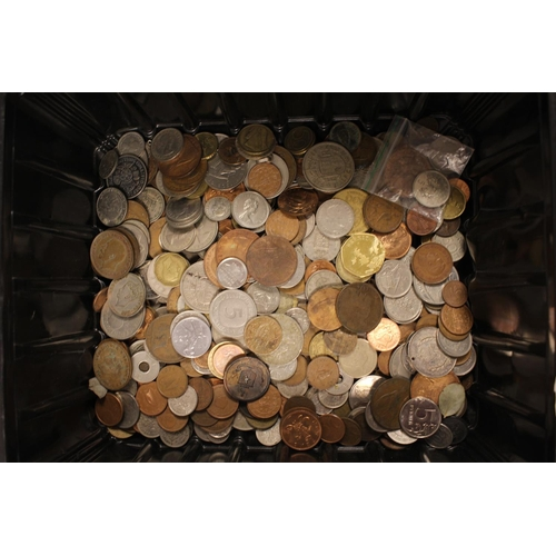 251 - A Large Box of Coins to include Foreign Coins, English Coins, etc. (Needs Viewing). 150-200 in Total...