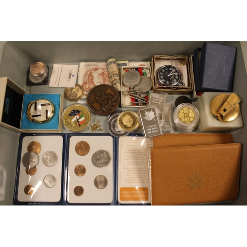 252 - A Large Collection of Coins & Medals to include 1 Troy Ounce Silver Bars, Various Coins, Bank Notes,...
