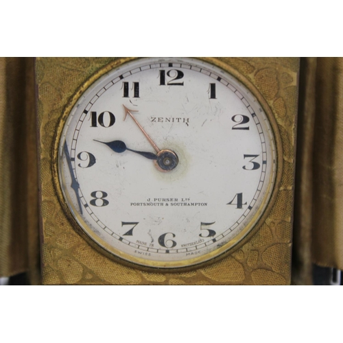 177 - A Zenith (J. Purser Limited - Portsmouth & Southampton) Travel Clock made in Switzerland Complete wi...