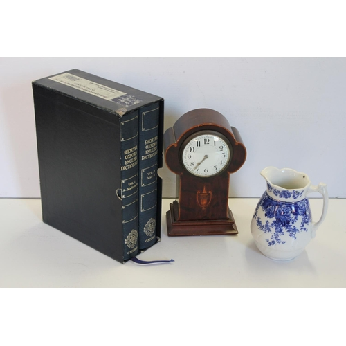 180 - A Victorian Drawing Room Clock fitted with a French Movement & inlaid Case along with a Blue & White...