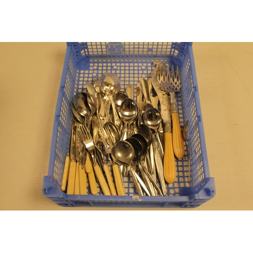 33 - A pair of Victorian fish servers, Lobster picks, Silver jam spoon, Silver plate, etc....