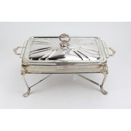 36 - A modern silver plated serving dish with a Pyrex liner.