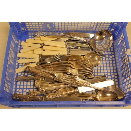 37 - A quantity of kings pattern Cutlery, Knives, Soup Ladle, etc....