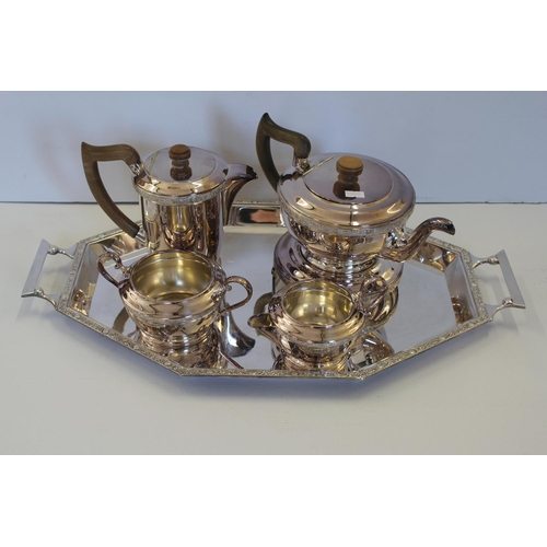 41 - A 5 Piece Silver Plated Tea & Coffee Service decorated with Celtic Borders, Hardwood Handles to Larg...