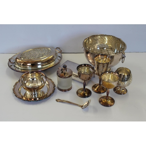 42 - A Silver Plated Tureen Dish, a Rose Bowl, Goblets, Sunday Dish, etc.