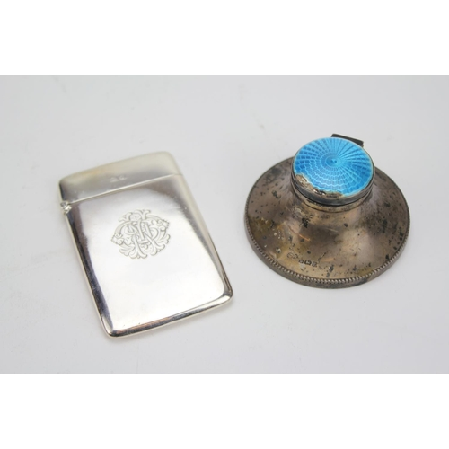 6 - A Silver & engraved Visiting Card Case along with a Capstan Inkwell....