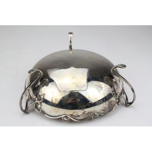 14 - An Art Nouveau Silver Whiplash Handled Fruit Bowl, London 1909. Weighing: 477g....