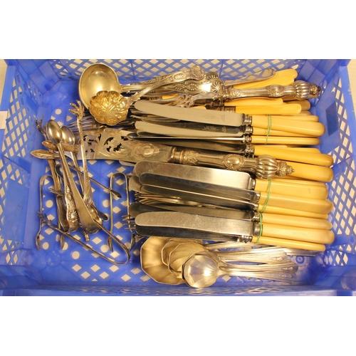 22 - A Pair of Silver Sugar Tongs, Victorian Fish Servers, Various Cutlery, etc....