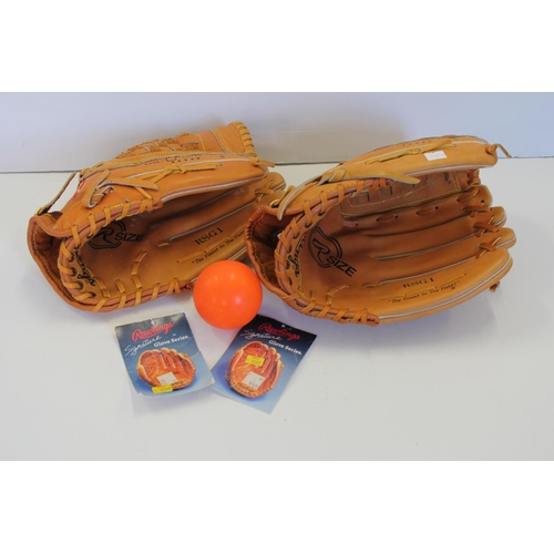 675 - 2 x American Rawlings Leather Baseball Gloves (RSG1) along with Original Receipts.