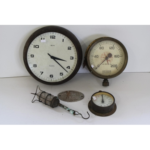 658 - A Hopkins of Huddersfield Brass Cased Pressure Gauge, one other in Brass, a Hook-on Lamp & an Engine...