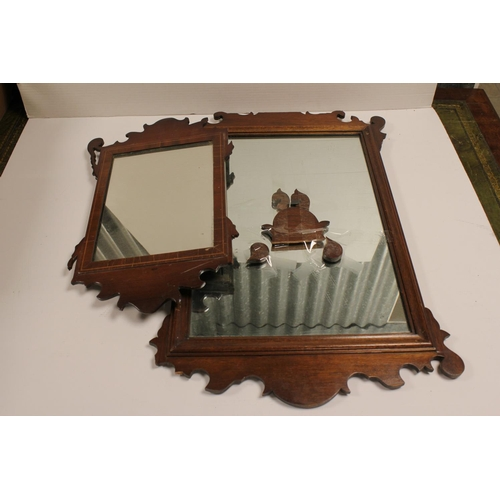 418 - Two Georgian design mahogany framed wall mirrors with fret carved design.