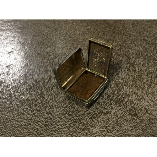 9 - A Georgian Silver vinaigrette with engraved diaper pattern filigree grill and maker TS Birmingham H ...