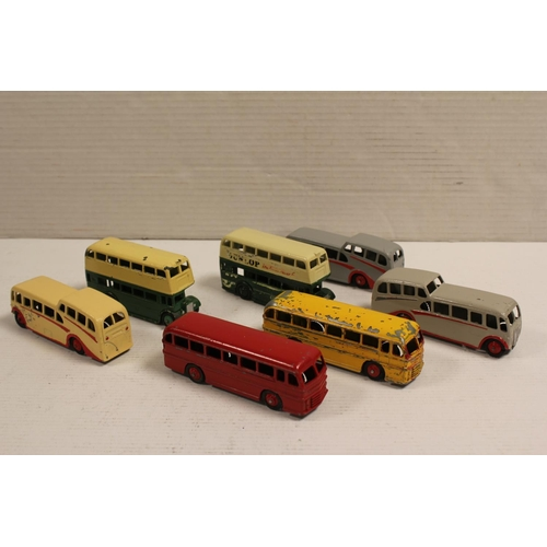 46 - A Collection of 7 x 1950's Dinky Toys to include 2 x Dunlop Buses, 3 x Observation Coaches & 2 x Ley...