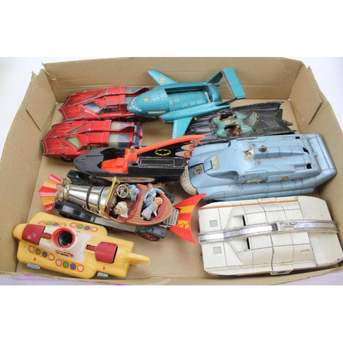 9 - A Collection of Corgi & Dinky TV Related Playworn models to include: SPV, MSV, 2 x SPC, Batmobile, B...